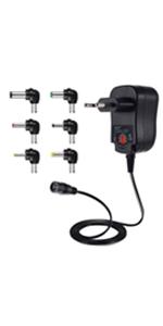 Universeller 12W Wechselstrom/Gleichstrom-Adapter mit 6 Gleichstromsteckern