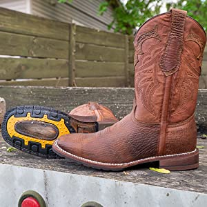 Soto Boots Rebel Men's Tan Rugged Square Toe Cowboy Boots H4010 Work Nonskid Slip resistance Western