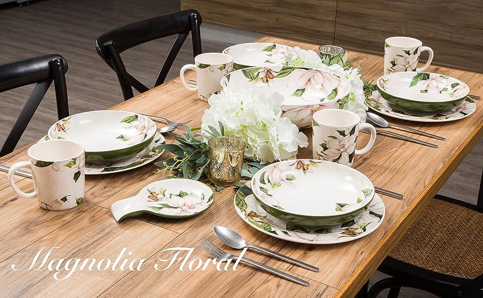 magnolia floral dinnerware set