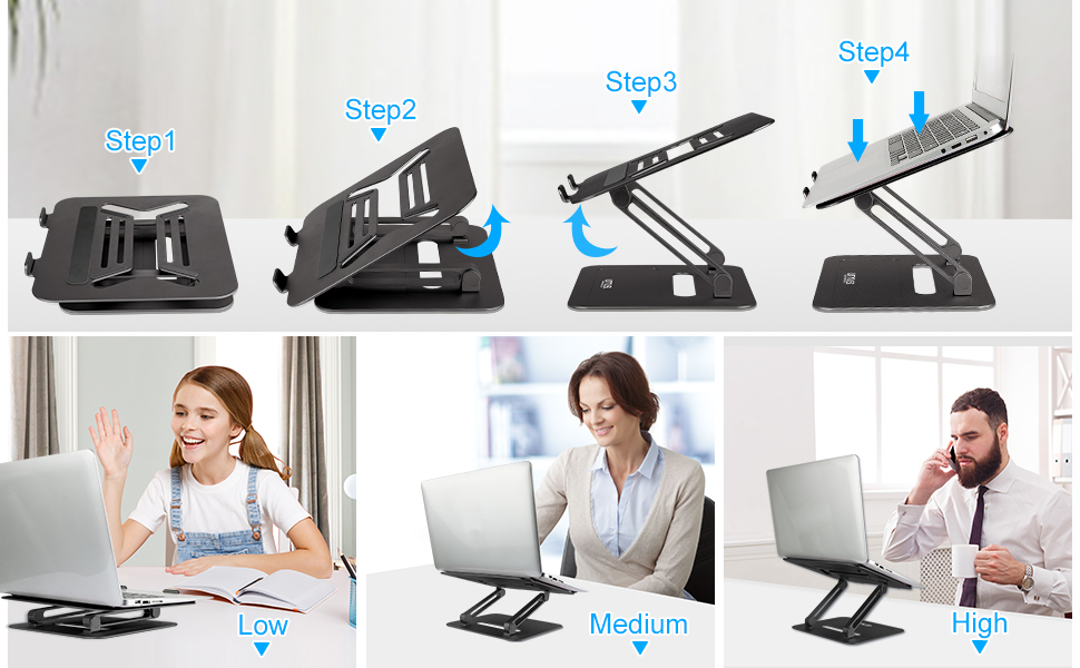 A picture show how to use computer stand