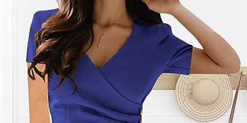 Women's Short Sleeve Work Casual Business Church Midi Dress
