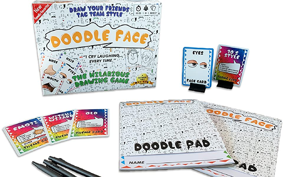 doodle face. Drawing game, party game