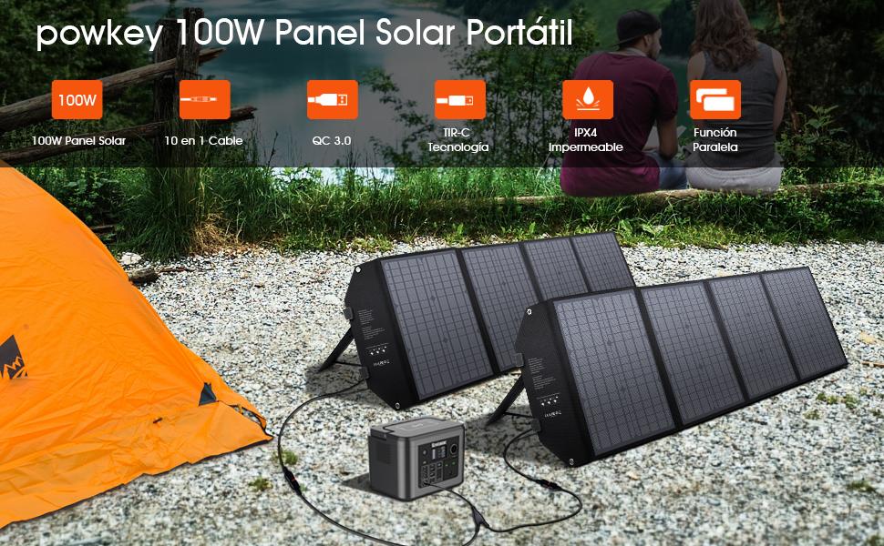 powkey 100W 18V Panel Solar Portátil, con Tipo C, USB C, 2 ...