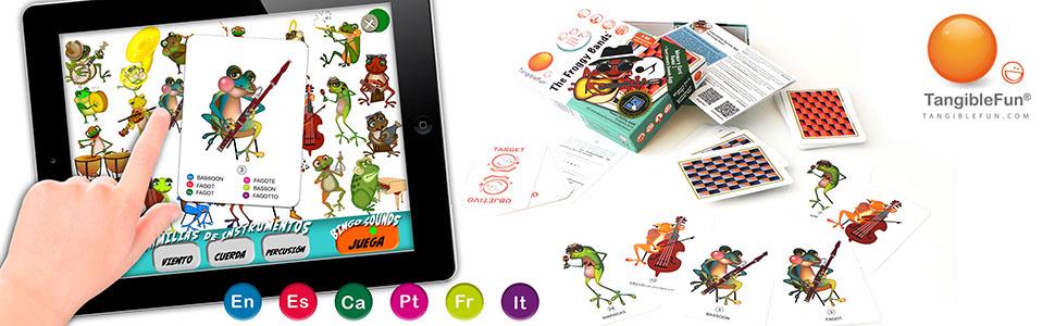 TangibleFun | The Froggy Bands | Juego de Cartas Educativo con App para iPad, Tablet y Smartphones de Sonidos Instrumentos Musicales y Bingo Sounds: Amazon.es: Juguetes y juegos