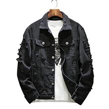 Distressed Jacket Casual Button Down Trucker Ripped denim Jacket Men Jean Coat Black Big & Tall
