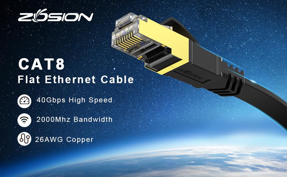 Cat 8 Flat Ethernet Patch Cable