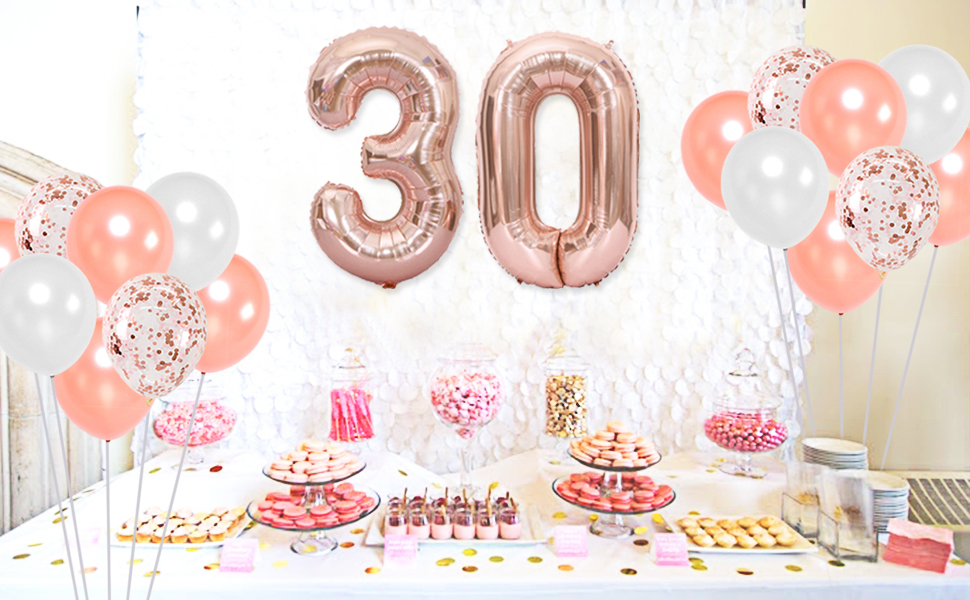Balloon Cake Topper 11 Happy Birthday Hello 21 30 18 40 50 Rose Gold Confetti Age Number Straw Ribbon Blue Bunch