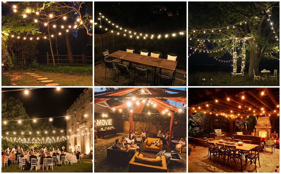 outdoor string lights led patio string light hanging lighting outside backyard porch bistro gazebo