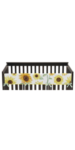 Yellow, Green and White Sunflower Boho Floral Girl Long Front Crib Rail Guard Baby Teething Cover