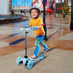 Profun Patinete de 3 Ruedas Scooter con Led Luces Manillar Altura Ajustable 57cm-69cm con Freno Posterior para Niños
