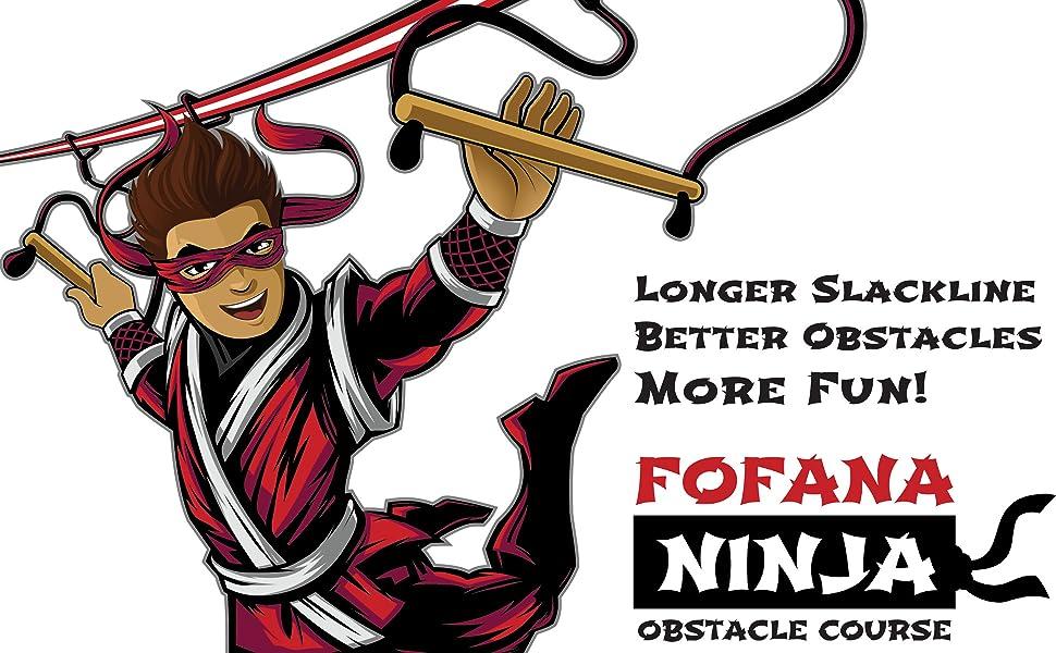 Fofana Ninja Warrior Obstacle Course for Kids Outdoor Play Fitness Exercise Toys Slackline Adventure