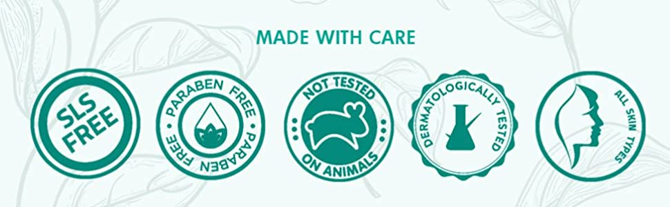 sls free paraben free not tested on animals dermatologically tested all skin types