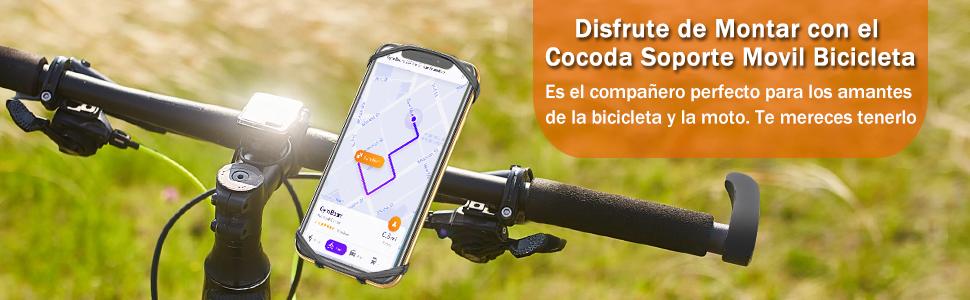 Cocoda Soporte Movil Bici, Universal Soporte Móvil Moto Bicicleta, 360° Rotación Ajustable Porta Teléfono Motocicleta Manillar, Compatible con iPhone ...