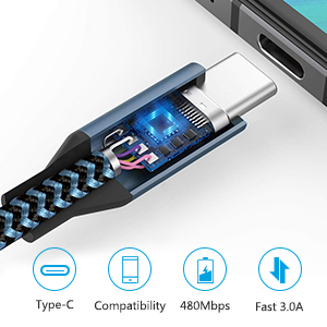 Amoner USB Type C Cable, Braided USB-C to USB-A Charger (3 Pack/3 Ft) with Reversible Connector Compatible with Samsung Galaxy S10 S9 S8 plus Note 9 ...