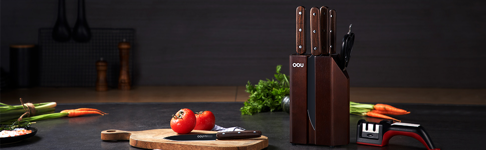 Amazon Com Knife Set Oou 8 Piece Kitchen Knife Block Set High Carbon Stainless Steel Chef Knife Set With Block Wooden Ultra Sharp Forged Full Tang Kitchen Knives Bo Oxidation For Anti Rusting Kitchen