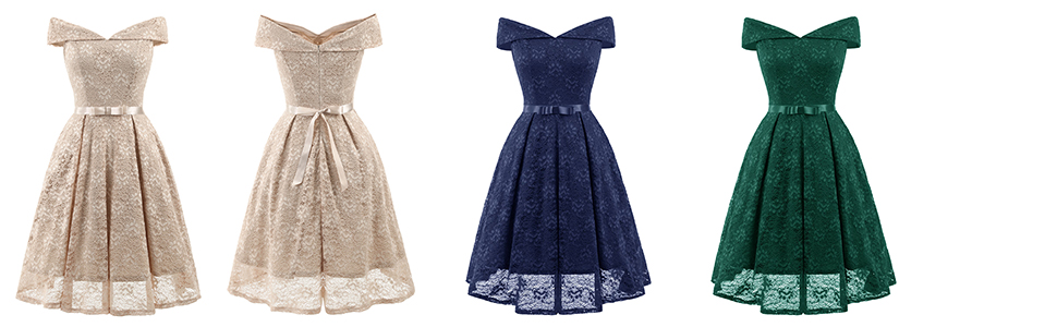 e6f6232806ede Bright Deer Women Bardot Lace Vintage Midi Skater Dress Party Cocktail  Special Occasion