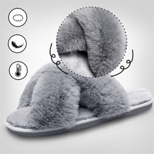 Womens Fuzzy Slides House Slippers Cozy Furry Home Indoor Outdoor Memory Foam Slippers for Women