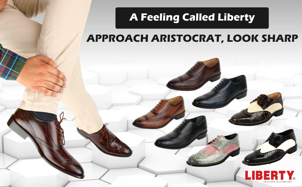 Liberty Men's Handmade Leather Classic Brogue Wing-Tip Lace Up Perforated Toe Dress Oxford Shoes