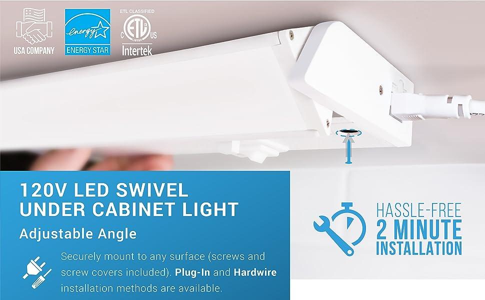 """Kitchen Counter Strip Light PARMIDA LED 24/"""" Under Cabinet Light Adjustable Lens"""