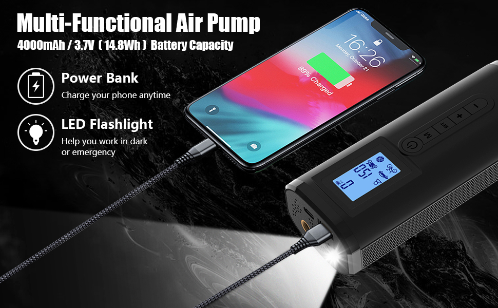 air pump with led light