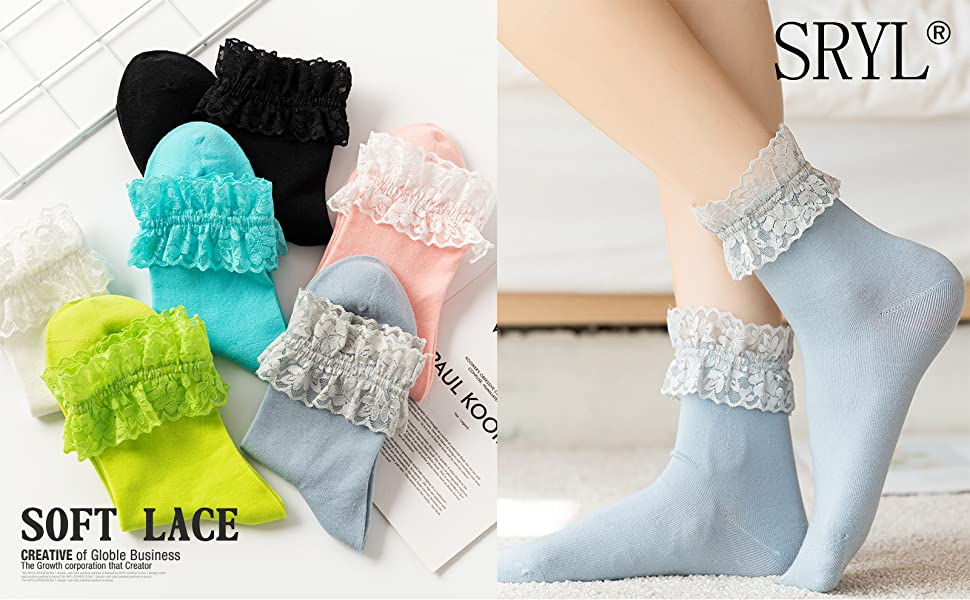 Details about  /Women Lace Ruffle Ankle Socks Soft Cotton  Multicolor Stretch Frill Socks W