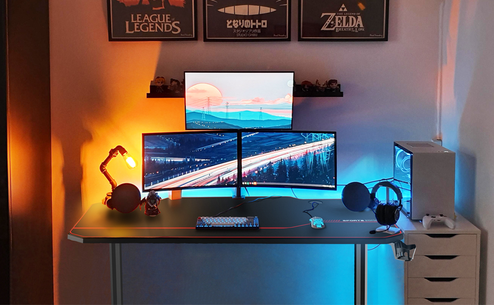 55 inch gaming desk  AuAg 55″ Enhanced Larger Gaming Desk with Free Mouse Pad, Cup Holder Headphone & Speaker Hook, Powerful Cabling Management Home Office Computer PC Streamer Desk b5d9da81 1042 4045 addd c67fb59863a5
