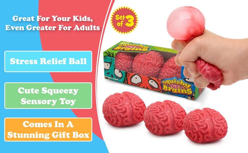 Halloween Brain-Shaped Splatballs Squeezable Fun Toys Relieve Stress Ball Toy