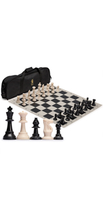 Regulation Tournament Roll-Up Staunton Chess Set with Travel Bag - Black