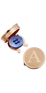 Button Cover Cufflinks for Men - Personalized Rose Gold Letter Button Covers for Wedding