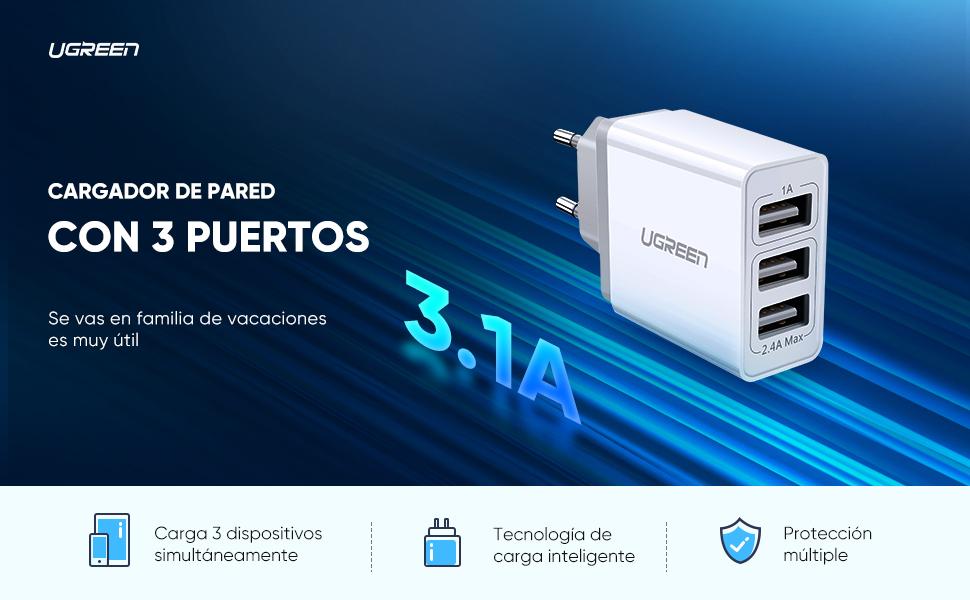 UGREEN Cargador USB con 3 Puertos, Cargador Móvil de Pared 5V 3.4A, Cargador USB Multipuerto Una Corriente Máxima de 2,4A para Xiaomi Redmi Note 7, ...