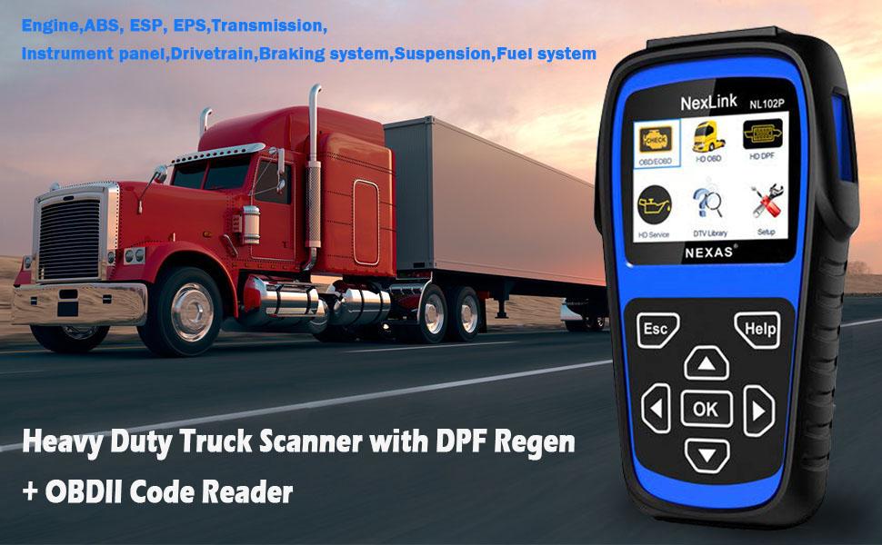Diesel Gas Heavy Duty Truck HD ABS DPF Oil Reset ESP EPS OBD2 Diagnostic Scanner