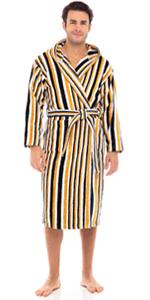 Men's Luxury Robes 100% Terry Cotton Hooded Bathrobe Spa Robe Multi Color Striped Bath Robes