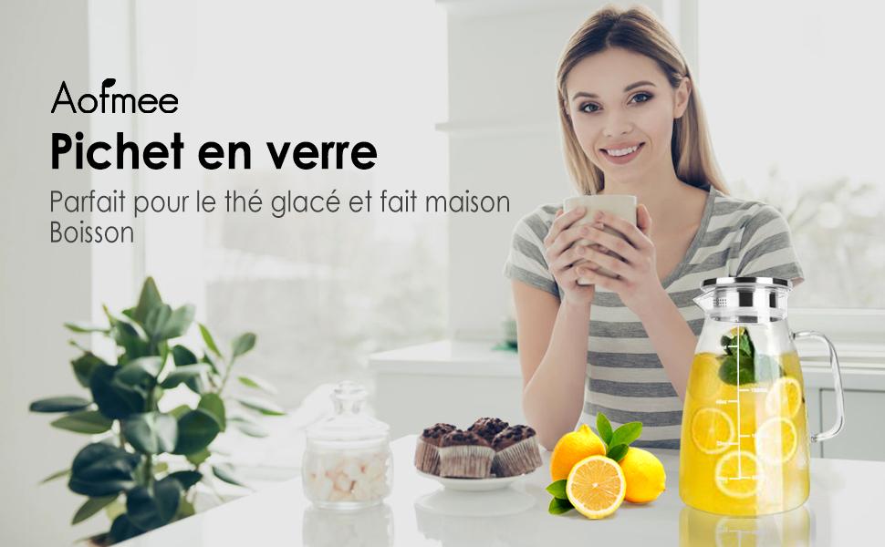 Le pichet en verre Aofmee est une option élégante et pratique pour servir vos boissons préférées