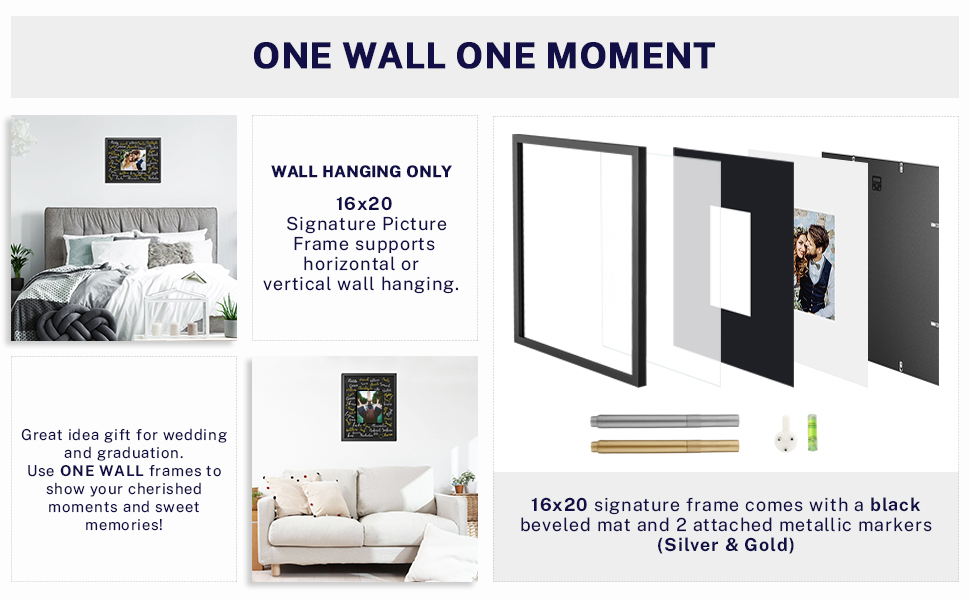Amazon Com One Wall Tempered Glass 16x20 Signature Picture Frame With Black Mat Display 8x10 Photo For Wedding Celebrations And Graduation Black Wood Frame For Wall Hanging Mounting Hardware Included