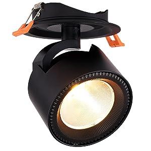 Dr.lazy 10W LED Luz de Techo Lamparas Focos LED Empotrables, Iluminación empotrable,Focos de techo,LED Lámpara de techo,LED Plafón con Focos,12X14.5CM,Agujero Φ10CM (Negro-3000K): Amazon.es: Iluminación