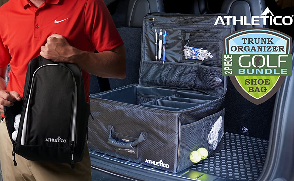 Athletico Golf Trunk Organizer in SUV trunk - comfortable grip, durable + shoe Bag, fits size US 14+
