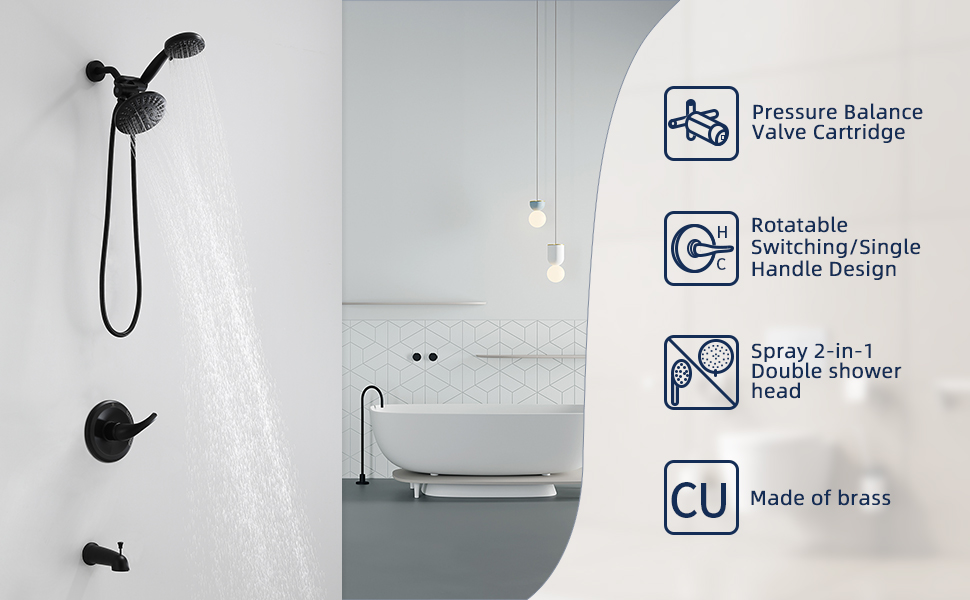 Shower Set and Bathtub Faucet, Dual shower heads & Bathtub Combo