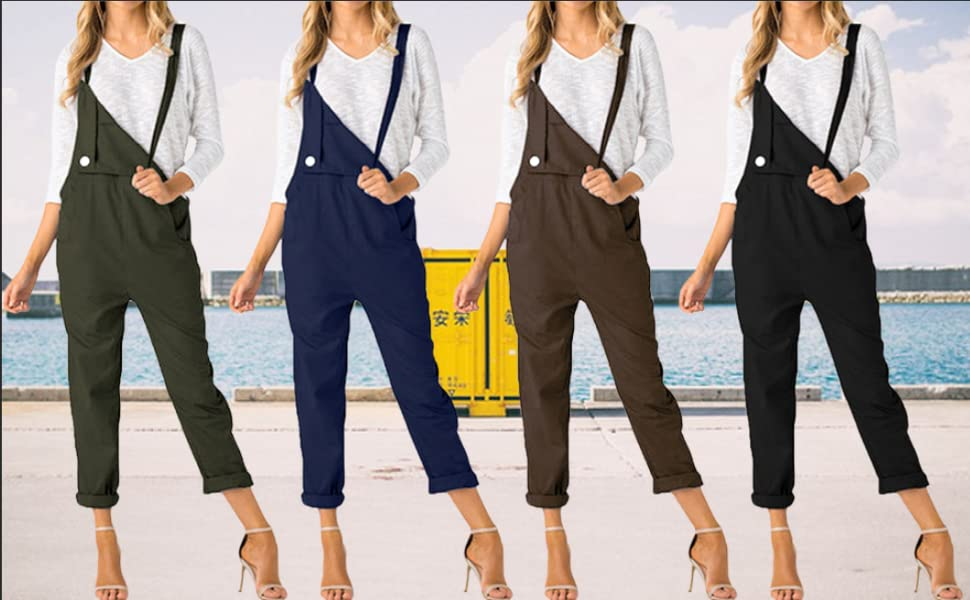 CNFIO Women Dungarees Loose Overall Casual Strappy Baggy Jumpsuit with Pockets