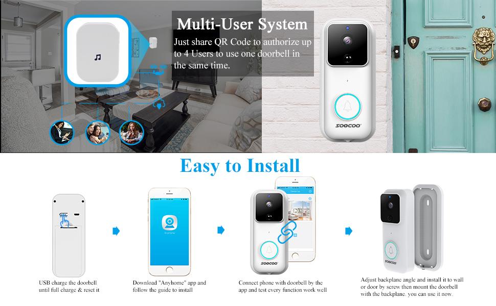 video doorbell camera smart doorbell camera wireless wifi motion detection