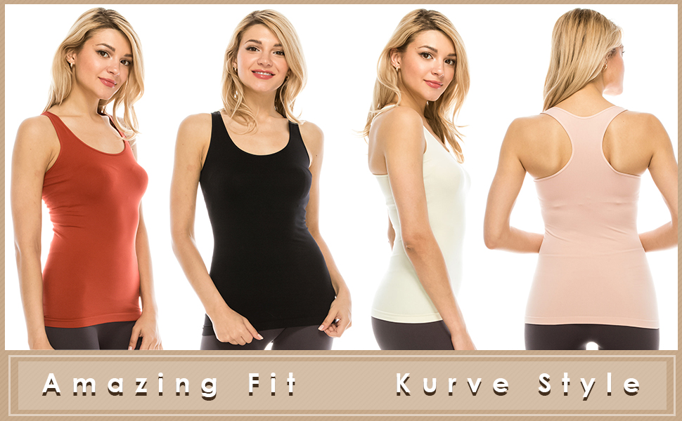 UV Protective Fabric UPF 50+ Made with Love in The USA Kurve Seamless Supersoft Racerback Tank