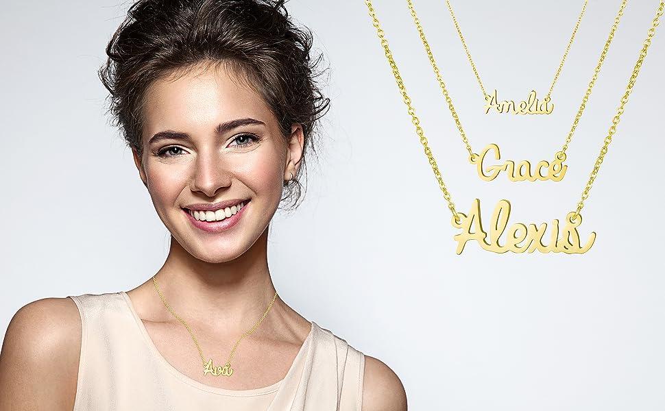 Chapado En Oro Con Collar de nombre-Louise-Ideas de regalo para ella-Novia Hecho A Medida