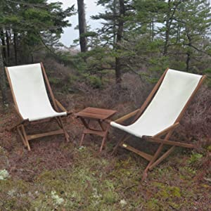 Pangean Glider Chair 36 in inches 20 23 18 camping outdoor backyard tan natural wooden canvas