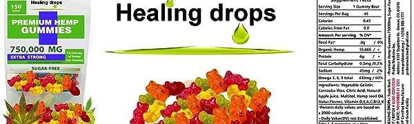 Healing Drops Gummy Bears 750,000mg