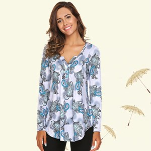 fall clothes for women vintage floral print long sleeve shirt button-up shirt v neck casual blouse