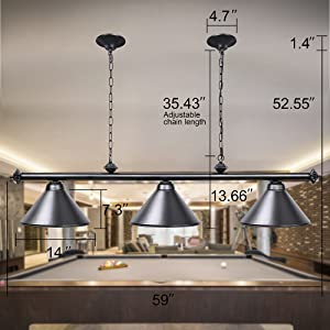 Amazon Com Wellmet 3 Light Pool Table Light Vintage Retro Kitchen Island Pendant Light With Matte Black Shade Modern Industrial Chandelier Home Improvement