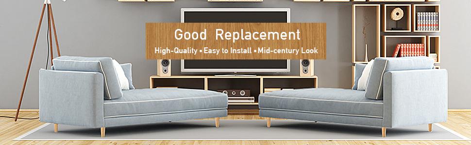 Het pakket bevat: 4x houten meubelpoten met bouten 4x rubberen pads 4x montageplaat 12x schroeven