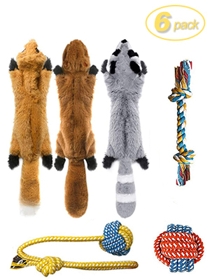 3 Squeaky Toys and 3 Rope Dog Toys