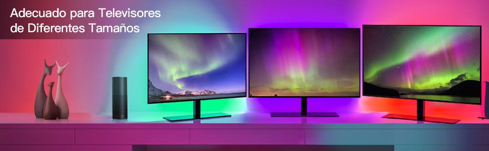 Wifi 3M Tira led Rgb TV con Usb, Maxcio Luces de colores con Brillo Ajustable, Control de Voz y Smart Life, Led para TV con Control Remoto de Infrarrojos Compatible con Alexa