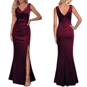 Sleeveless V Neck Split Evening Cocktail Long Dress