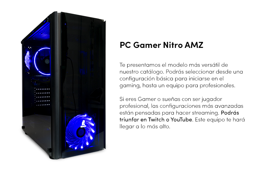 NITROPC - PC Gamer Nitro AMZ 2020 *REBAJAS* (CPU Ryzen 5, 6N/12 x 3,60 Ghz, T. Gráfica RX580 4GB, SSD + 1 Tb, Ram 16 GB) + WIFI de regalo. pc gamer,